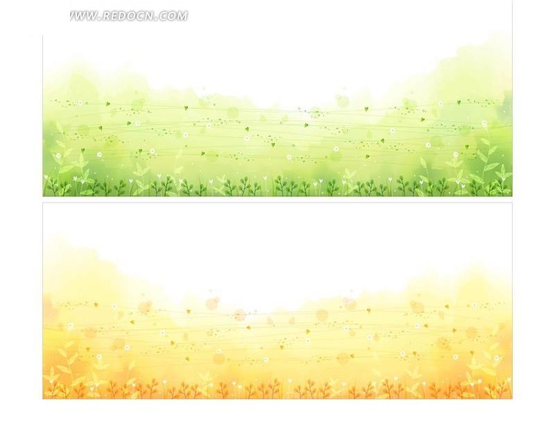 细小线条心形圆形植物花草矢量图_底纹背景