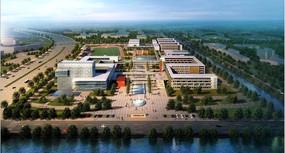 校区建筑设计俯瞰效果图PSD素材