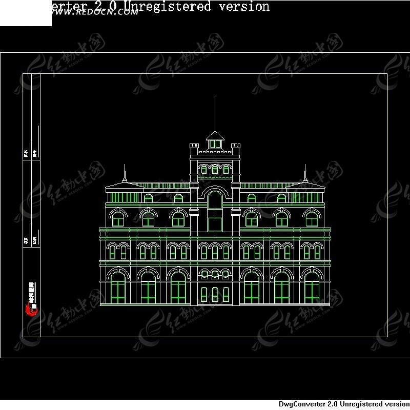 欧式建筑cad正视图设计-04
