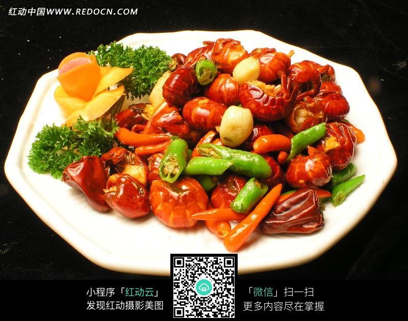 杭椒爆龙虾尾美食