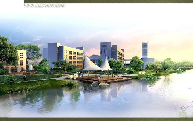 河岸上的度假村设计方案效果图_园林景观