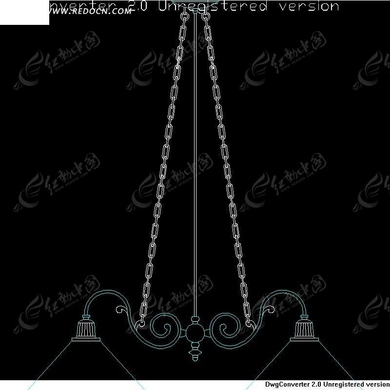 吊灯设计图纸-三角形主灯曲线装饰的吊灯
