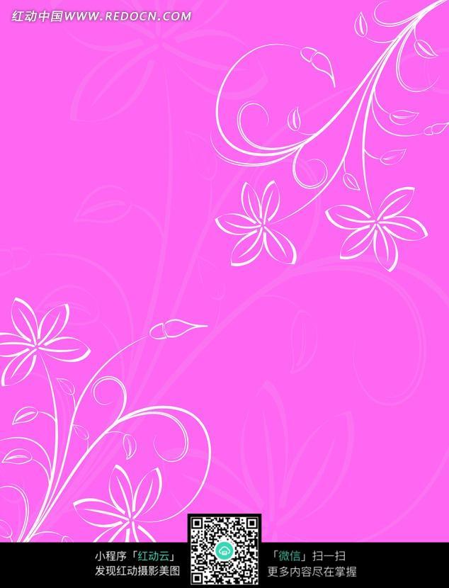 紫红背景手绘对角藤蔓花朵