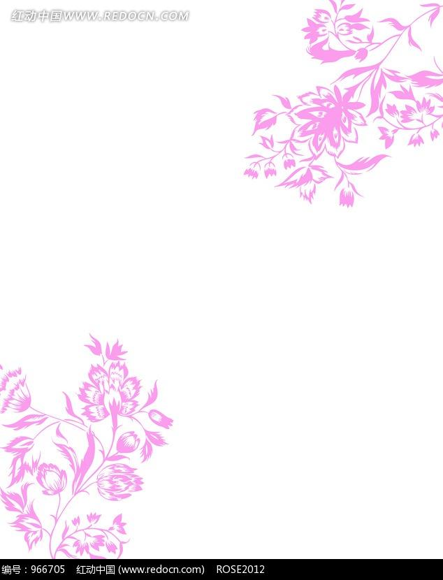 免费素材 图片素材 背景花边 底纹背景 手绘紫红藤蔓花朵对角花纹