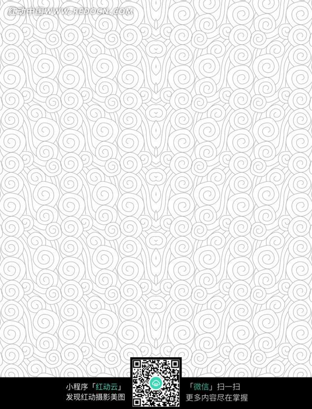 手绘灰色线条云纹图片