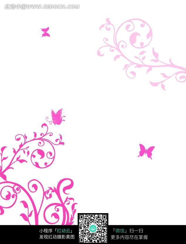 素材下载 图片素材 背景花边 底纹背景 > 手绘紫红藤蔓花茎蝴蝶图片