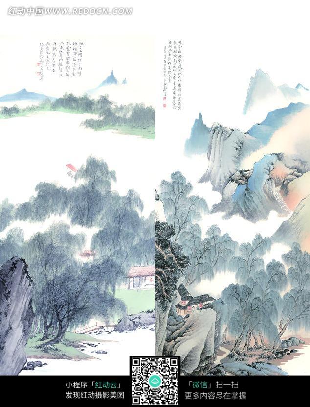 柳树和山峦构成的两幅水墨画图片免费下载 编号968417 红动网图片