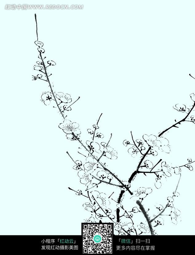 粉蓝色背景上的手绘梅花