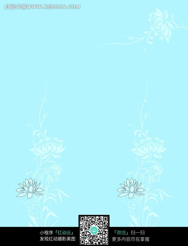 蓝底描白莲花移门图-韵味图片_底纹背景图片图片