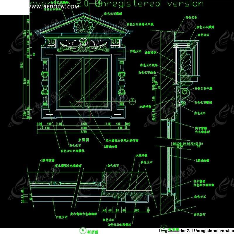 欧式窗施工图_cad图库图片