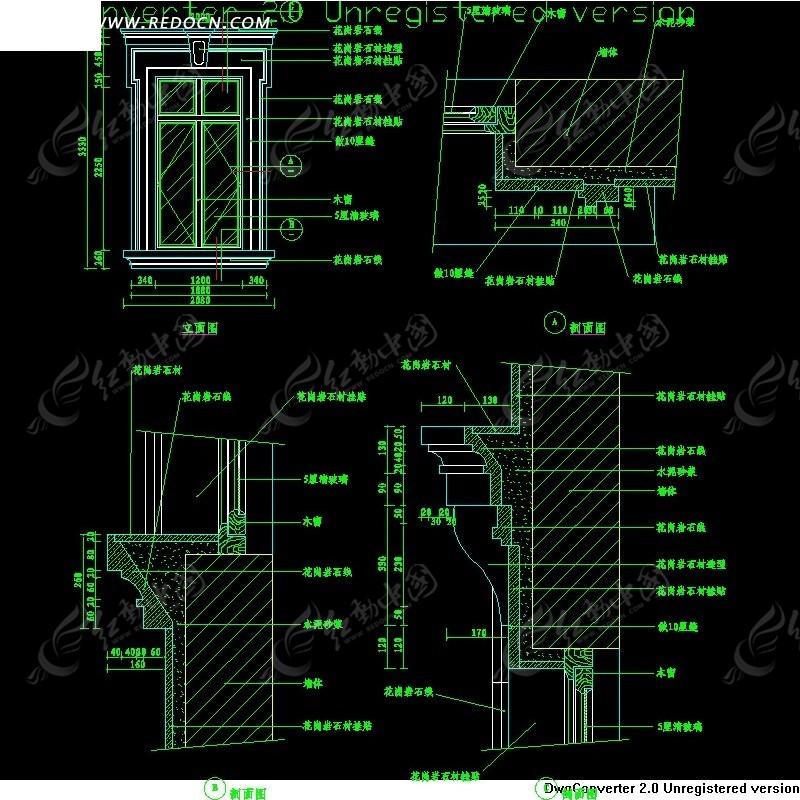 西式窗详图cad施工图免费下载