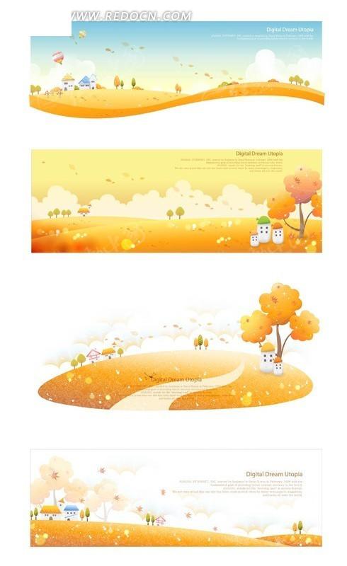 卡通小树小房子热气球蜿蜒的小路动感线条图片