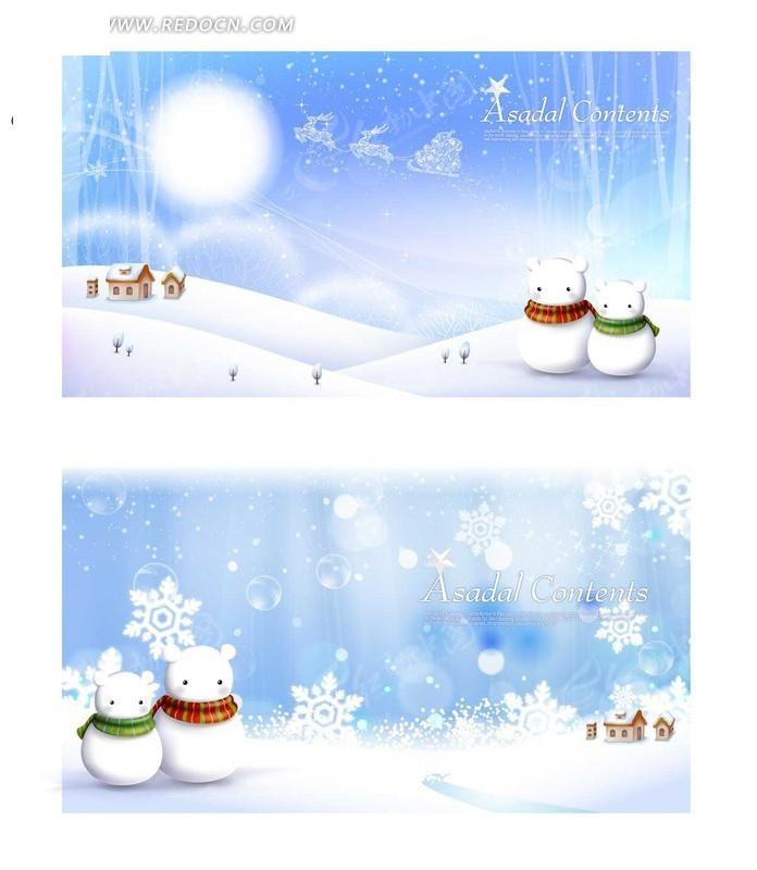 雪花雪人泡泡小房子麋鹿雪橇小树五星动感线条矢量图