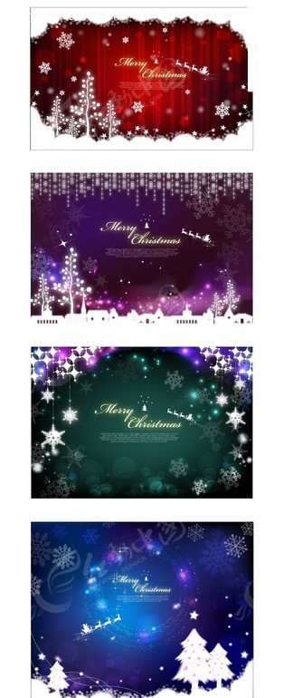 圣诞树 雪花  圣诞节 圣诞鹿  雪松 星星 璀璨 矢量素材 圣诞 圣诞夜