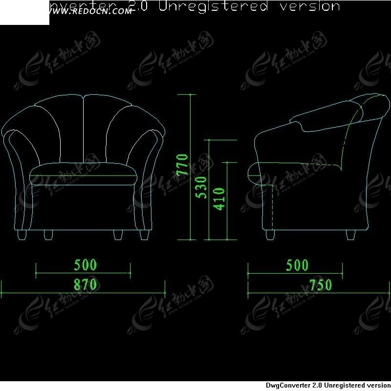 欧式单人沙发施工尺寸图