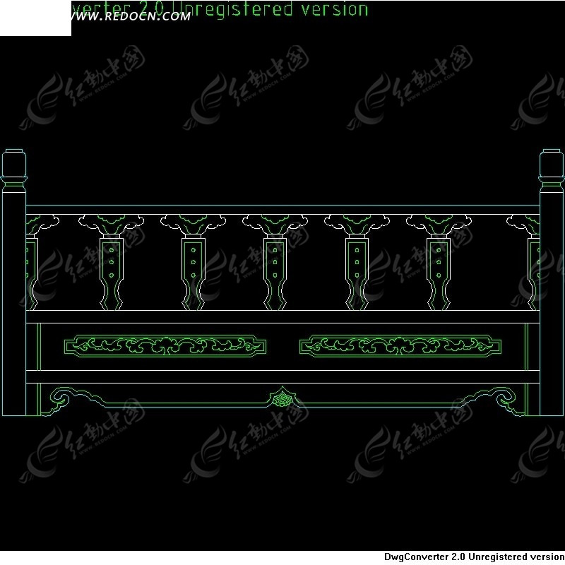 中式栏杆CAD立面图cad反应怎么办修剪慢图片