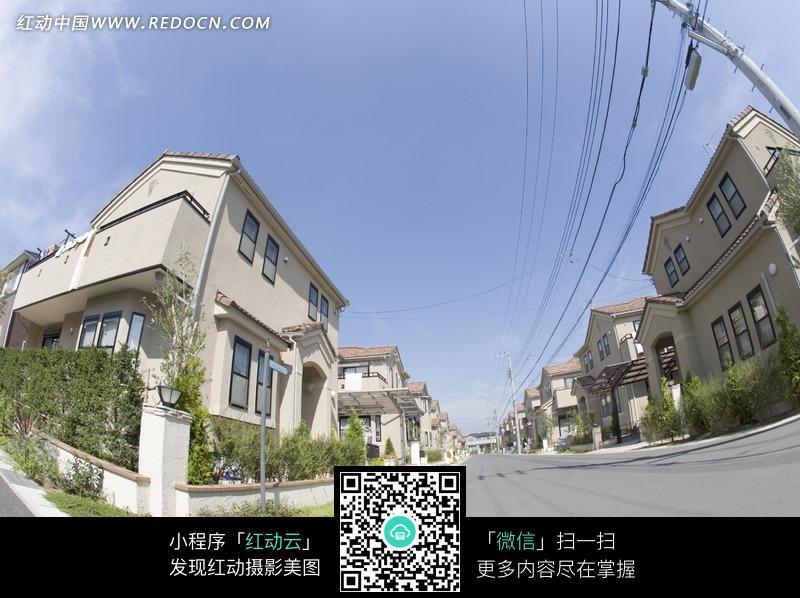 广角镜头 别墅  房屋 电线杆 道路 建筑物 风景 清新 城市风光 城市图