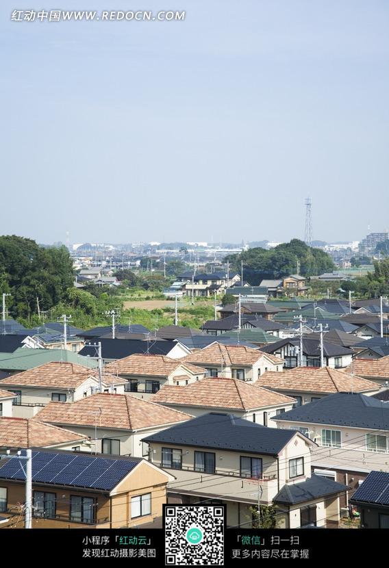 蓝天下的三角形屋顶的房屋和树木