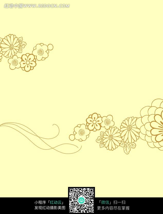 手绘线条潮流花朵