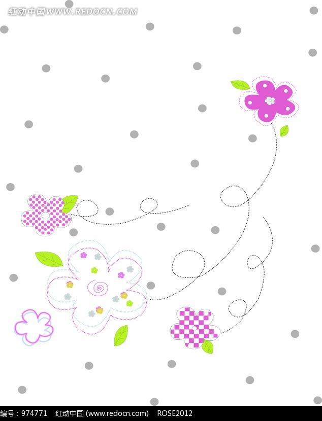 童趣手绘花朵花纹_底纹背景图片
