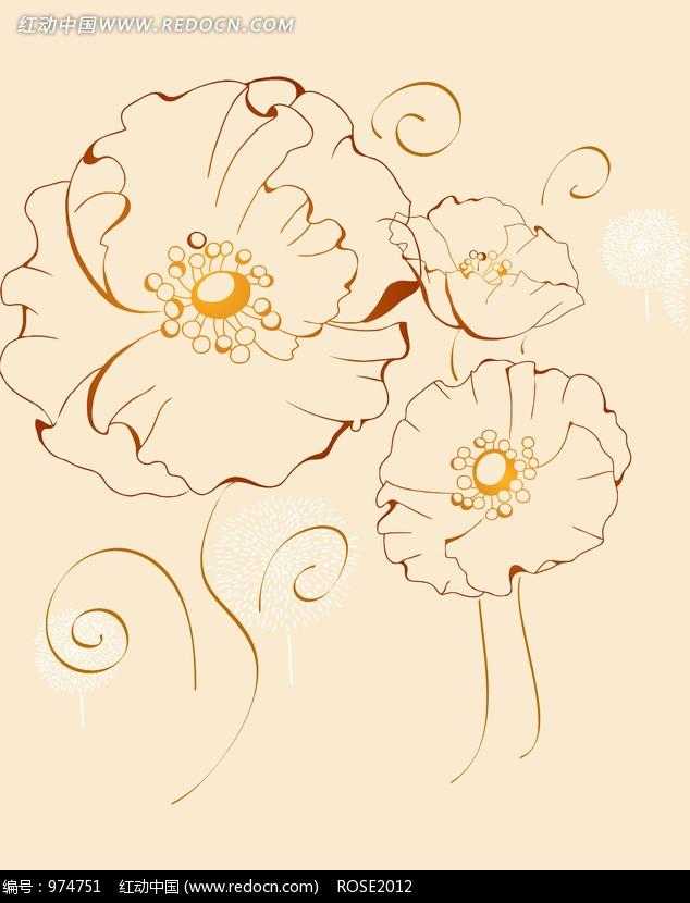 三朵手绘荷叶花花纹