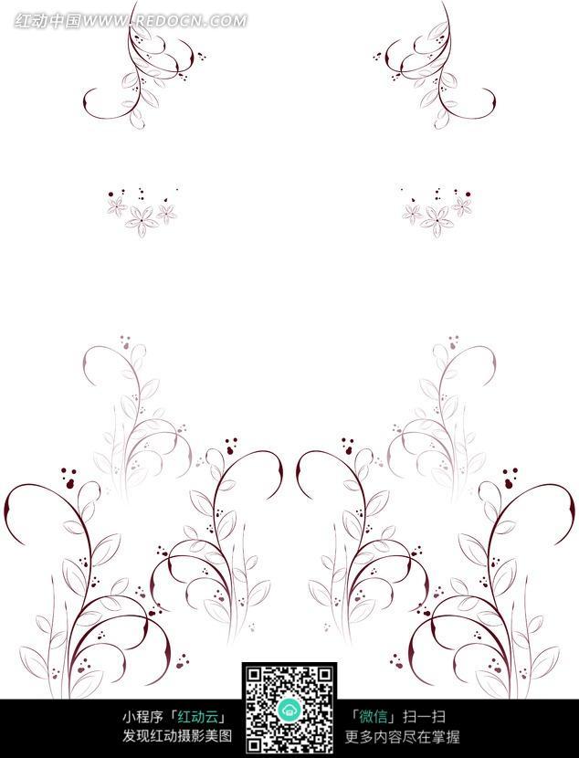 手绘线条小花草