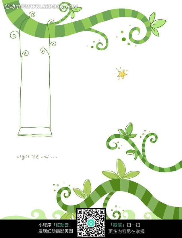 q版树藤缠绕石碑动漫-可爱绿色的树藤图片