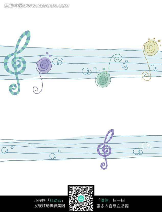 卡通五线谱上的音符 底纹背景图片 红动手机版图片