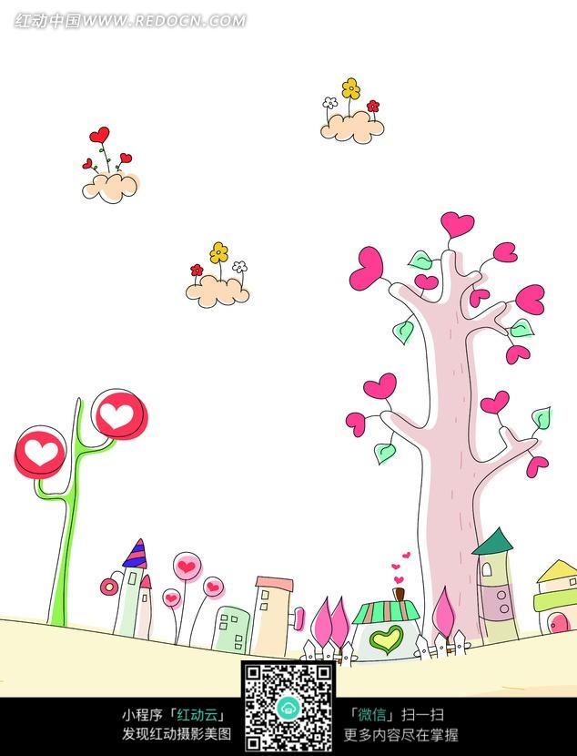 卡通画长满爱心的树木云朵与房子图片