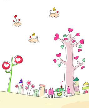 卡通画长满爱心的树木云朵与房子 长满花朵和心形以及五角星的叶形