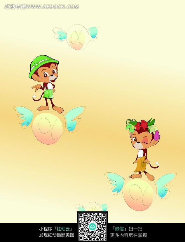 彩色卡通画站在飞球上的小猴子图片