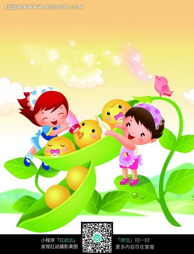 彩色卡通画给豌豆宝宝喂饭的小女孩们