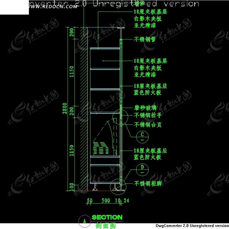 材料装饰柜剖面v材料图纸图纸(编号:985437)_C客厅暗黑系列图片