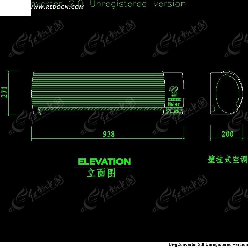 壁挂式海尔空调cad立面图