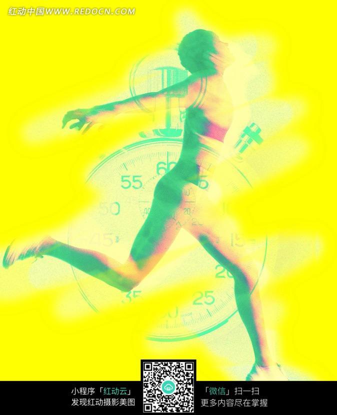 秒表与跑步冲刺女性运动员剪影