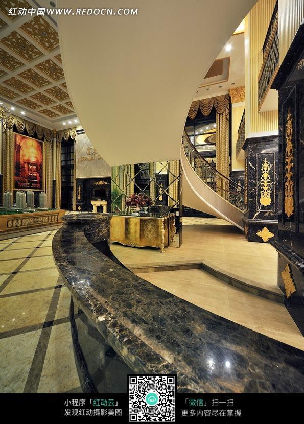 弧形楼梯 仰拍 黑色接待台 石纹接待台 室内设计 装修 现代 豪华 时尚
