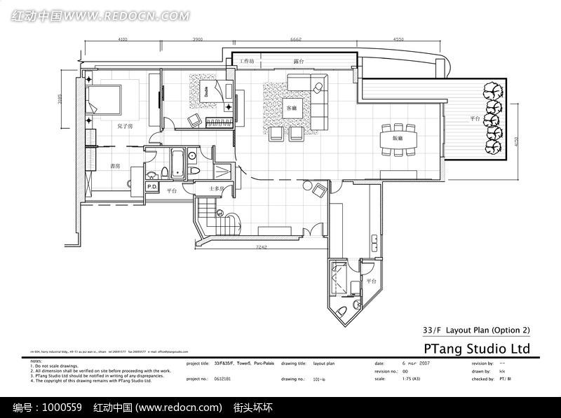 别墅一层室内布局设计平面图