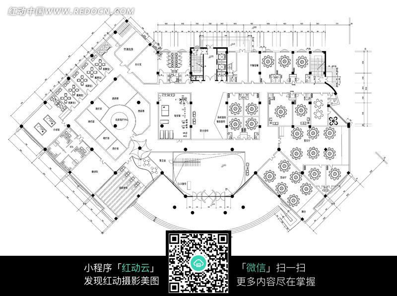 免费素材 图片素材 环境居住 室内设计 酒店大楼一层平面图  请您分享