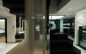 黑白色调简单现代化全套装修室内楼梯效果图