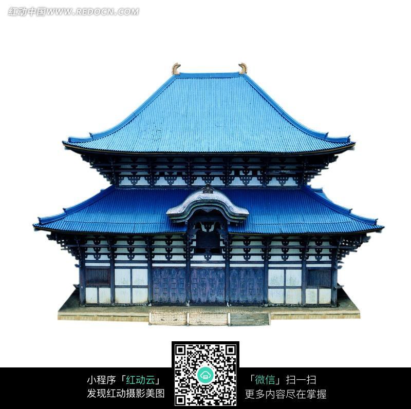 庑殿顶的蓝色的中式建筑物图片