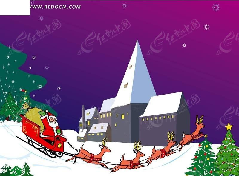 圣诞老人在雪地上驾着马车送礼物