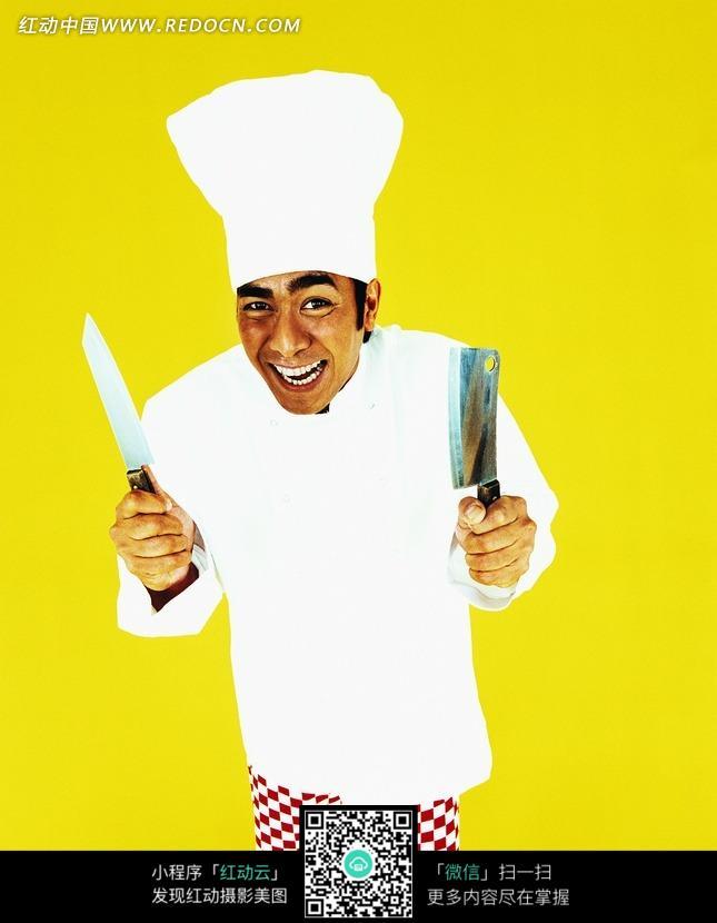 免费素材 图片素材 人物图片 日常生活 拿着两把刀大笑的厨师  请您