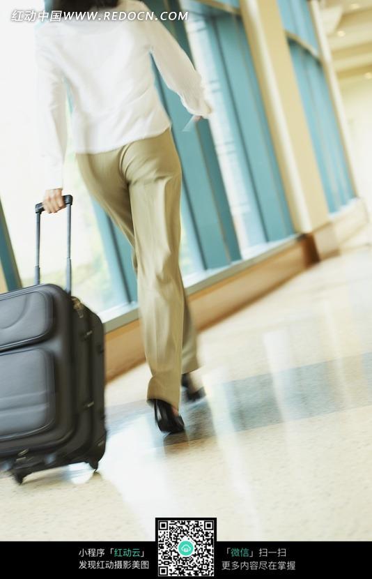 拖着行李箱走路的女士背影图片
