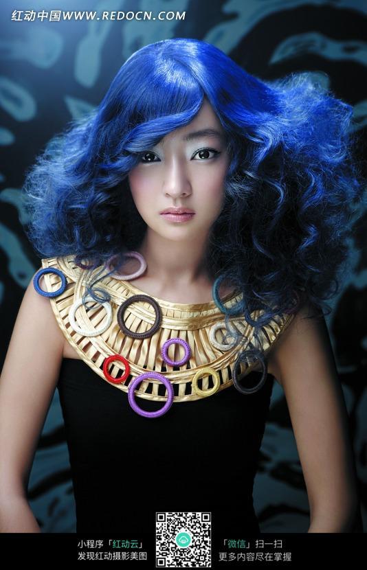蓝色发型美女图片编号:1022125 女性女人