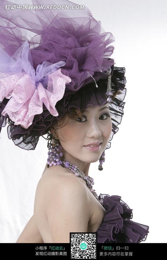 紫色女孩爱女头带v紫色的性格纱布-人物图片素跑步的图片生花饰图片