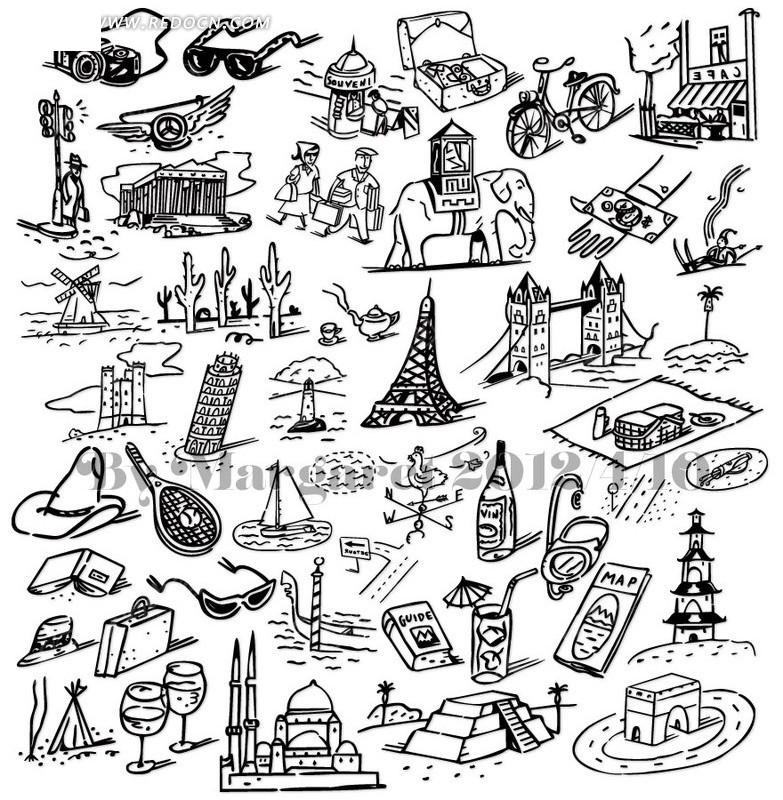 茶壶 玻璃杯 插画 插图 线稿 手绘 速写 写生 轮廓 线条画 生活用品