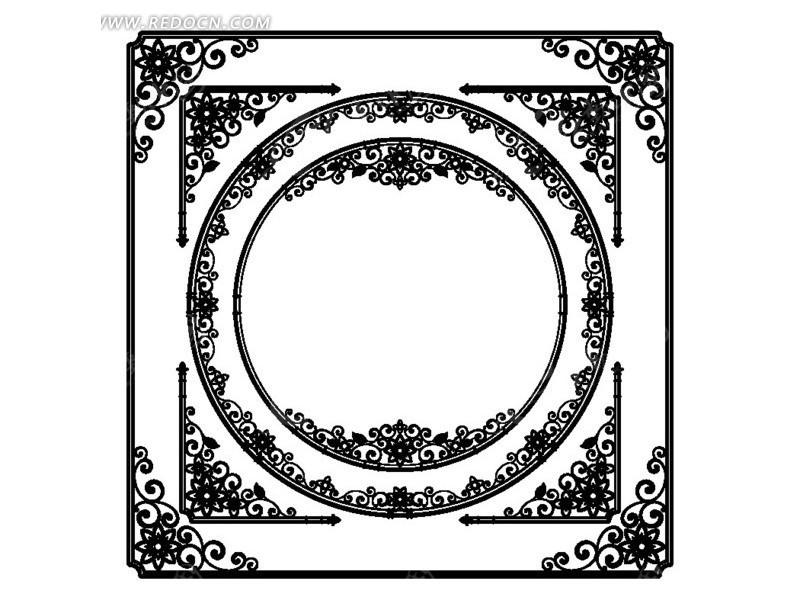 古典単色花纹边框2矢量图_边框相框