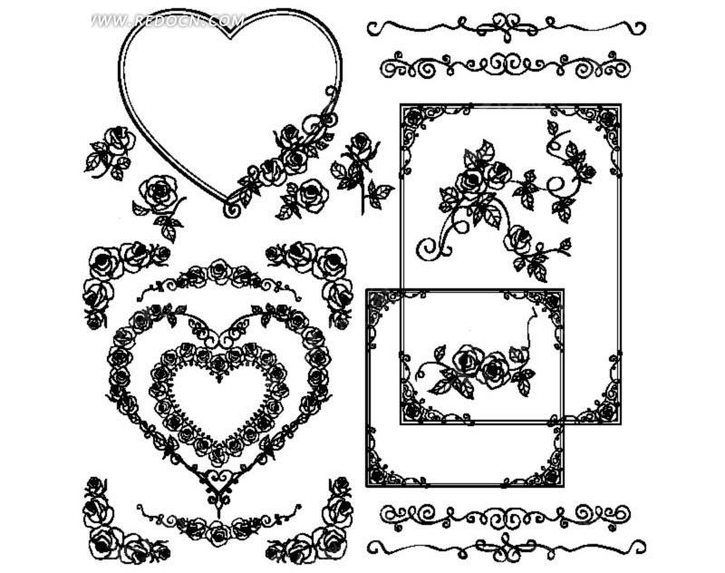 藤蔓花边边框简笔画; 玫瑰图片
