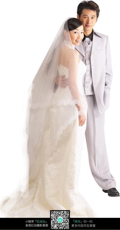 搂住 合照 新郎 新娘 礼服 婚纱  人物素材 摄影图片