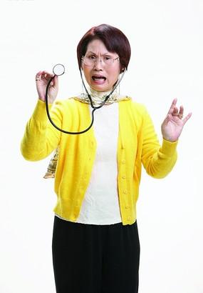 中国古典图案-戴头饰的老年女人侧面头像